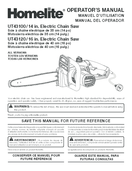 14 in. and 16 in. Electric Chain Saw